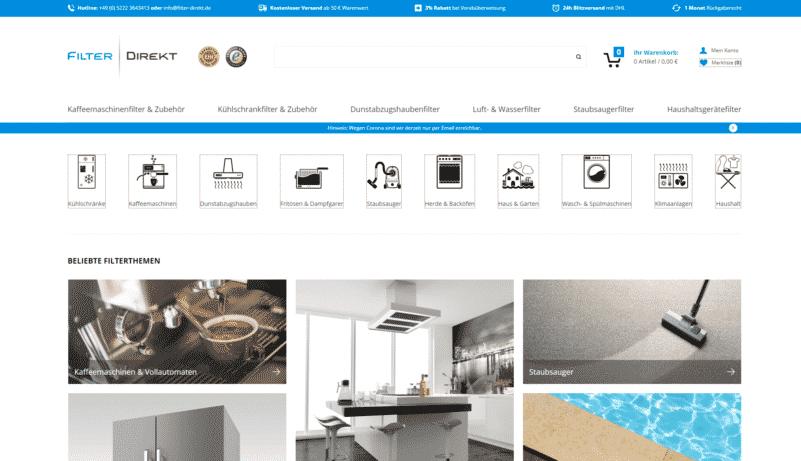 Screenshot von Filter Direkt